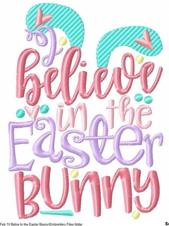 SAMPLE SALE, I Believe In The Easter Bunny-Kids Easter Embroidered Shirt-Girls Easter Shirt-Boys Easter Shirt -Easter Sunday