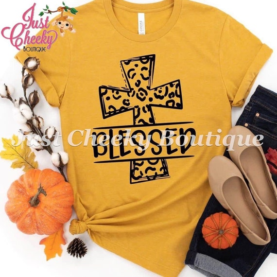 Blessed Screen Print Shirt-Mom Shirt-Funny Shirt-Sarcastic Shirt-Thanksgiving Shirt-Thankful Shirt-Fall Shirt-Autumn-Pumpkin-Leopard