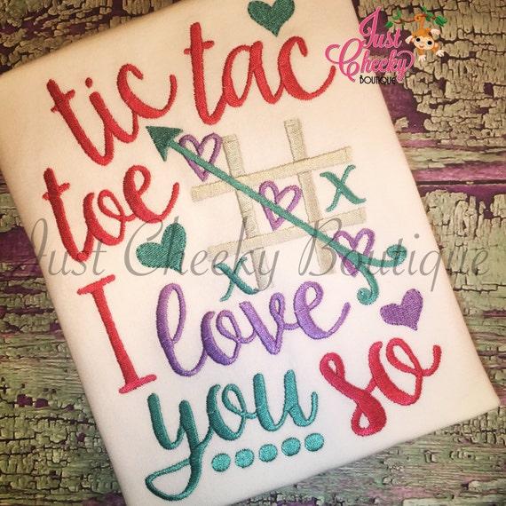 Tic Tac Toe I Love You So - Kids Valentine's Day Embroidered Shirt - Girls Valentines Shirt - Boys Valentines Shirt