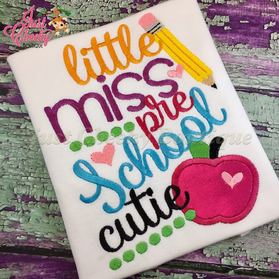Little Miss Grade Embroidered Girls Shirt -Back to School Shirt -First Day of School Shirt-Kindergarten 1st Grade 2nd Grade-Graduation Shirt