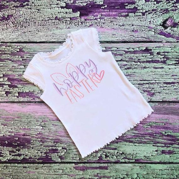 SAMPLE SALE, Hoppy Easter - Kids Easter Embroidered Shirt -Girls Easter Shirt -Boys Easter Shirt  -Easter Sunday-Easter Bunny