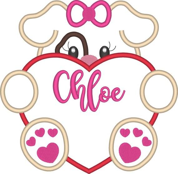 SAMPLE SALE, Girl Puppy Dog Valentine -  Valentine's Day Embroidered Shirt - Girls Valentine's  Shirt - Boys Valentine's Shirt - February 1