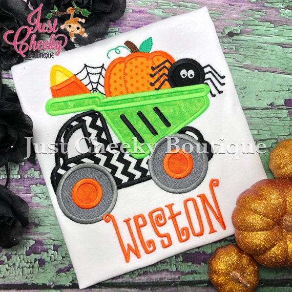 Halloween Dump Truck Embroidered Shirt - Kids Halloween Shirt - Boys Halloween Shirt - Boys Truck Shirt - Dumptruck - Spider - Candy  Corn