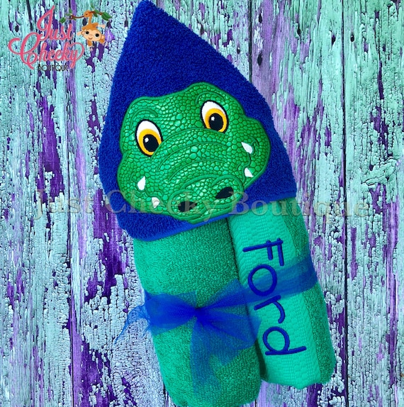 Alligator Hooded Towel - Crocodile Hooded Towel - Beach Towel - Swim Towel - Gators Towel - Hooded Towel Gift - Birthday Present