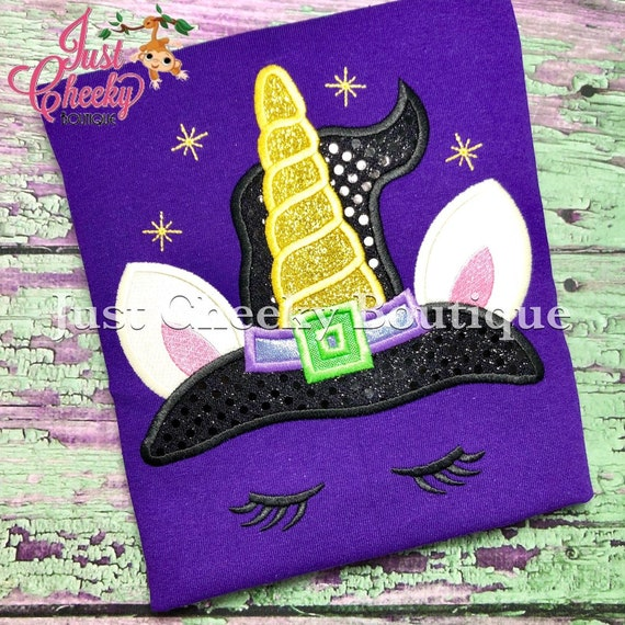Witch Unicorn Embroidered Halloween Shirt -Kids Halloween Shirt -Girls Halloween Shirt -Unicorn Halloween Shirt