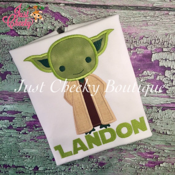 Yoda - Star Wars Inspired - Kids Embroidered Shirt -  May the Force Be With You - Force Friday Shirt - Star Wars Birthday Shirt