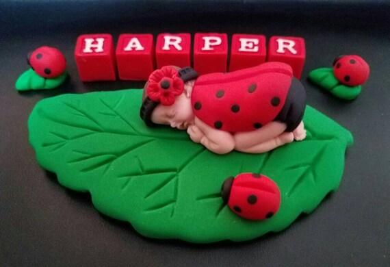 Fondant Marienkafer Baby Kuchen Deckel Mit Buchstaben Blocke Etsy