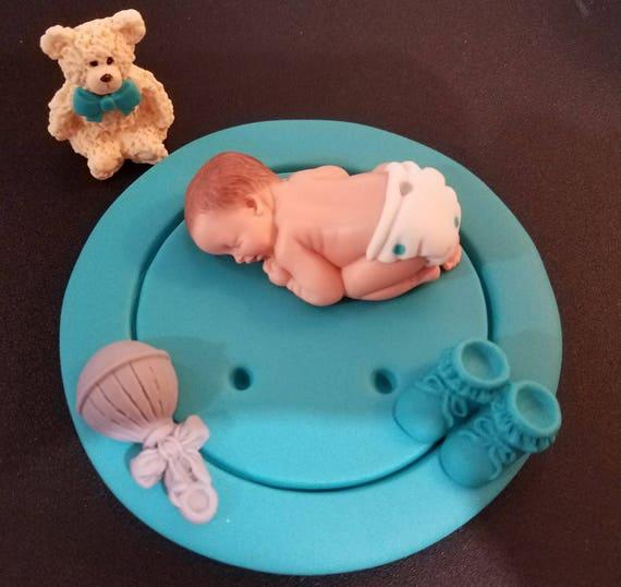 Fondant Baby Junge Tasten Kuchen Deckel Baby Dusche Etsy