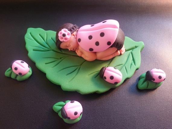Fondant Rosa Marienkafer Baby Kuchen Topper Fur Baby Dusche Etsy