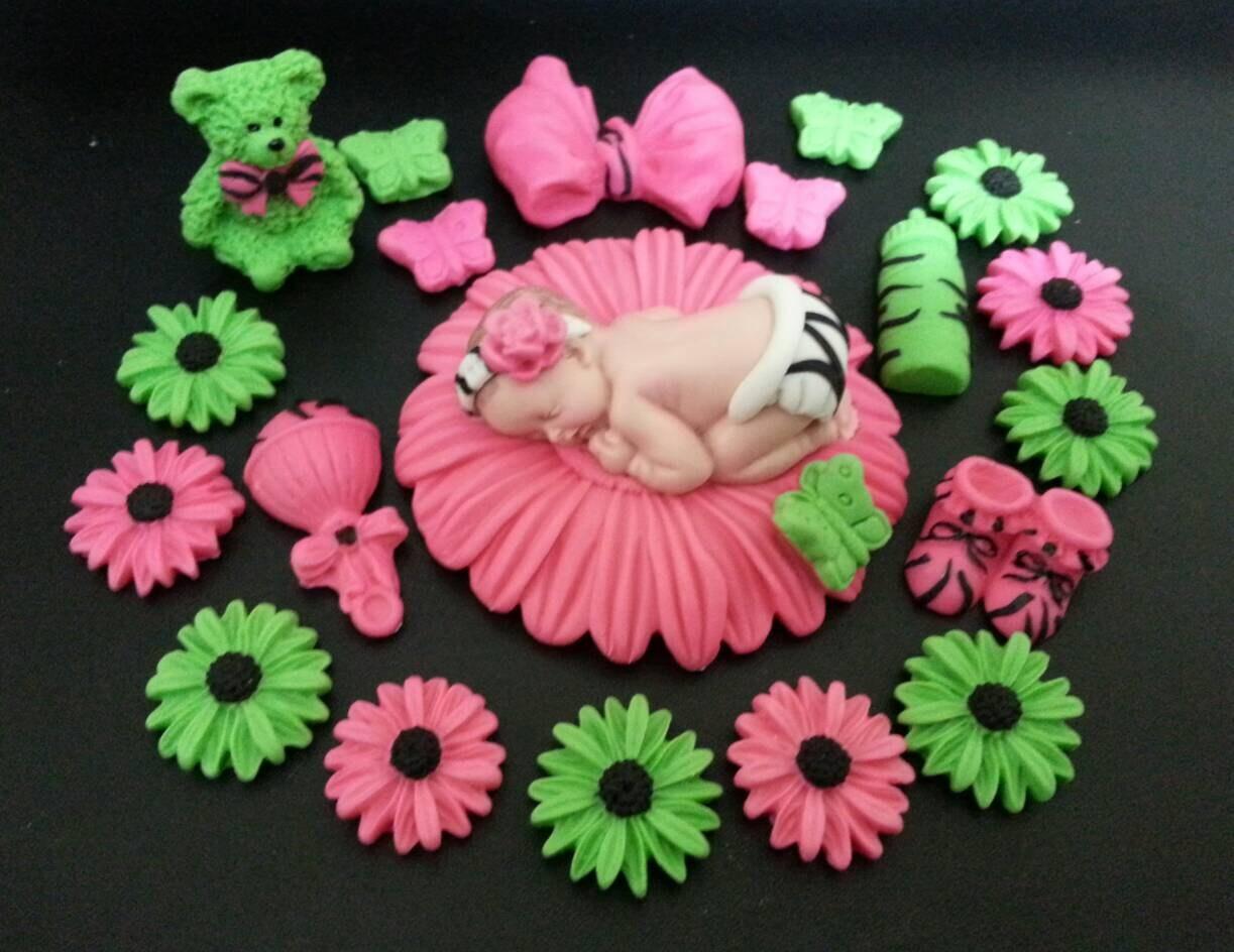 Fondant Baby Zebra Pinklime Daisy Flower Cake Topper Etsy