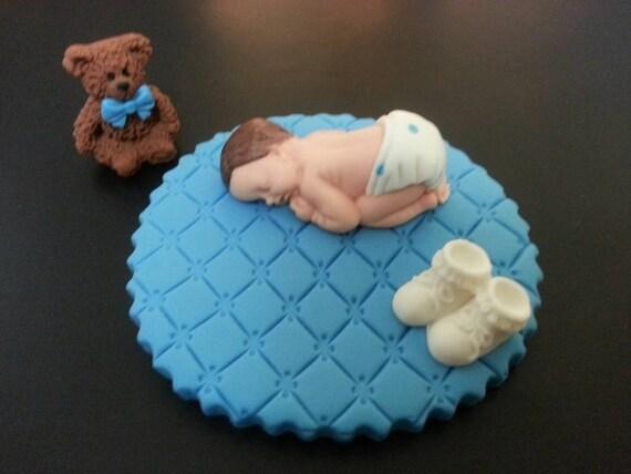 Fondant Jungen Auf Weissen Decke Kuchen Topper Fur Baby Shower Etsy