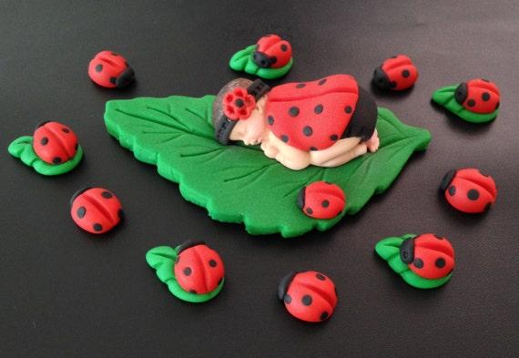 Fondant Marienkafer Baby Kuchen Topper Fur Baby Dusche Etsy