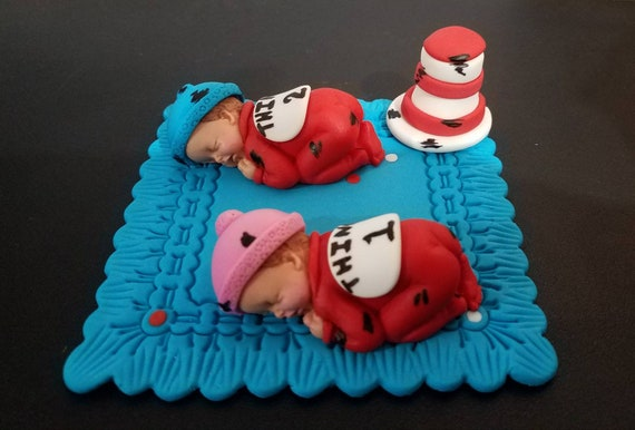 Cool Fondant Twin Babies Inspired In Thing 1 2 Or Gender Reveal Etsy Funny Birthday Cards Online Necthendildamsfinfo