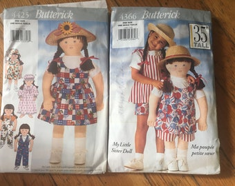 Butterick Patterns #4366 and #4425 My Little Sister Doll Pattern and Clothes Pattern