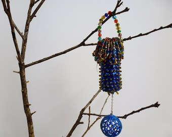 "Cork ""Eye Candy"" Wine Cork Ornament, Recycled with Sequins, Beads and Vintage Costume Jewelry"
