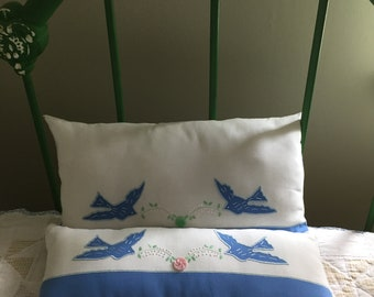 Pillows Pair of Bluebird Pillows Made from Vintage Table Runner