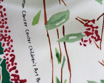 Vintage Silk Scarf Leaves Branches and Berries