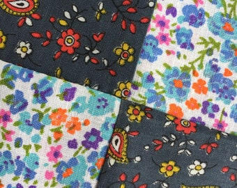 Quilt Squares Multi Color Vintage Fabric Solids and Prints in 9 Block Pattern with Corner Star Points