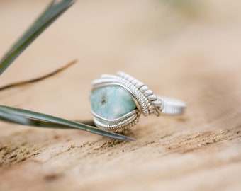 Size 4 Raw Amazonite 925 Sterling silver wire wrapped ring