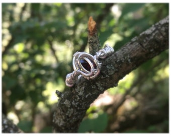 Size 6 Faceted Garnet Wire Wrapped Ring in 925 Sterling Silver
