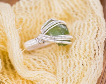 Size 7 Raw Peridot Ring wrapped in 925 Sterling Silver