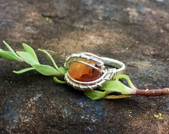 Size 6 1/2 Orange Agate Wire Wrapped Ring in 925 Sterlin Silver