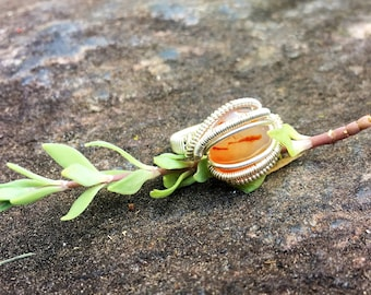 Size 4 3/4 Orange Creamcicle Agate Wire Wrapped Ring in 925 Sterling Silver