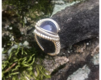 Size 9 1/2 Steel Blue Agate Wire Wrapped Ring 925 Sterling Silver