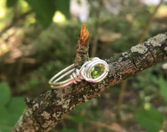 Size 6 Faceted Green Peridot Wire Wrapped Ring in 925 Sterling Silver