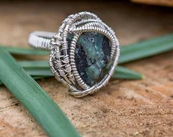Size 5 Emerald in Matrix Sterling Silver Wire Wrapped Ring