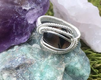Size 8 1/2 Black Agate Ring wrapped in 925 Sterling Silver
