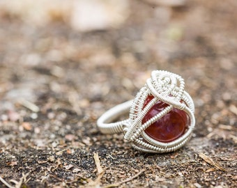 Size 7 Red Agate Ring wrapped in 925 Sterling Silver