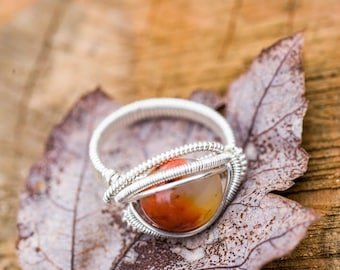 Size 6 Sunset Agate Ring wrapped in 925 Sterling Silver
