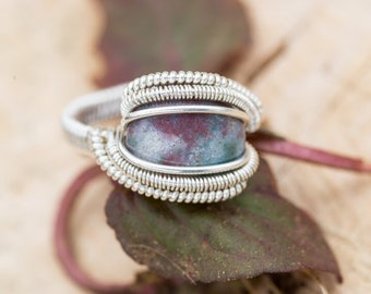 Size 6 Sky Blue and Purple Agate Ring wrapped in 925 Sterling Silver