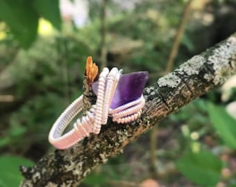 Size 6 1/2 Purple Pyramid Flourite Wire Wrapped Statement Ring in 925 Sterling Silver