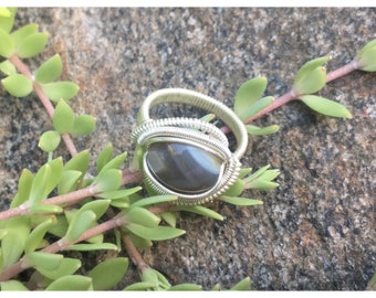 Size 6 1/2 Gray and White Banded Agate Wire Wrapped Ring in 925 Sterling Silver