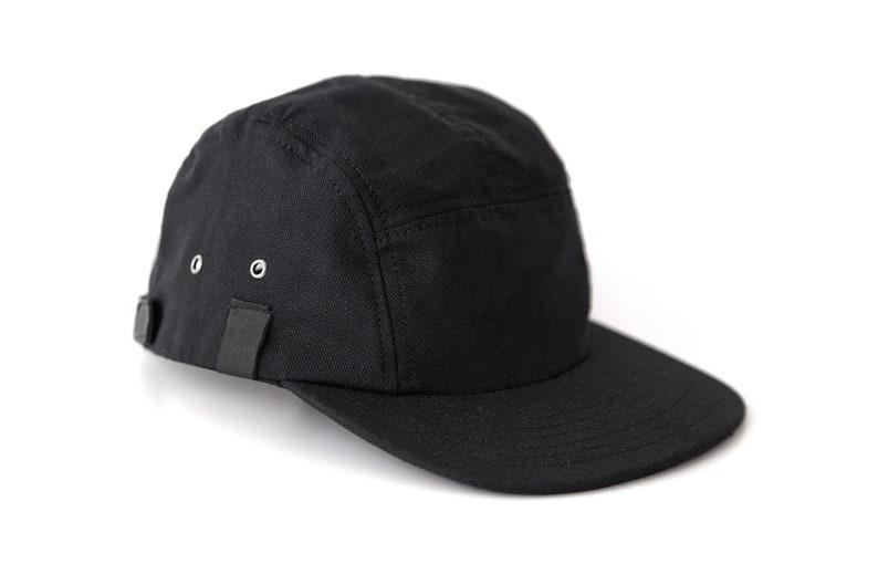 Black 5 Panel Snapback Canvas Leather Snapback Camper Hat  d2a050d7cc7