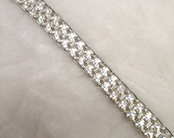 Lovely Vintage Rhinestone Bracelet - safety clasp - silver tone metal - channel set - bridal - WEDDING - Bridesmaid gift - maid of honor