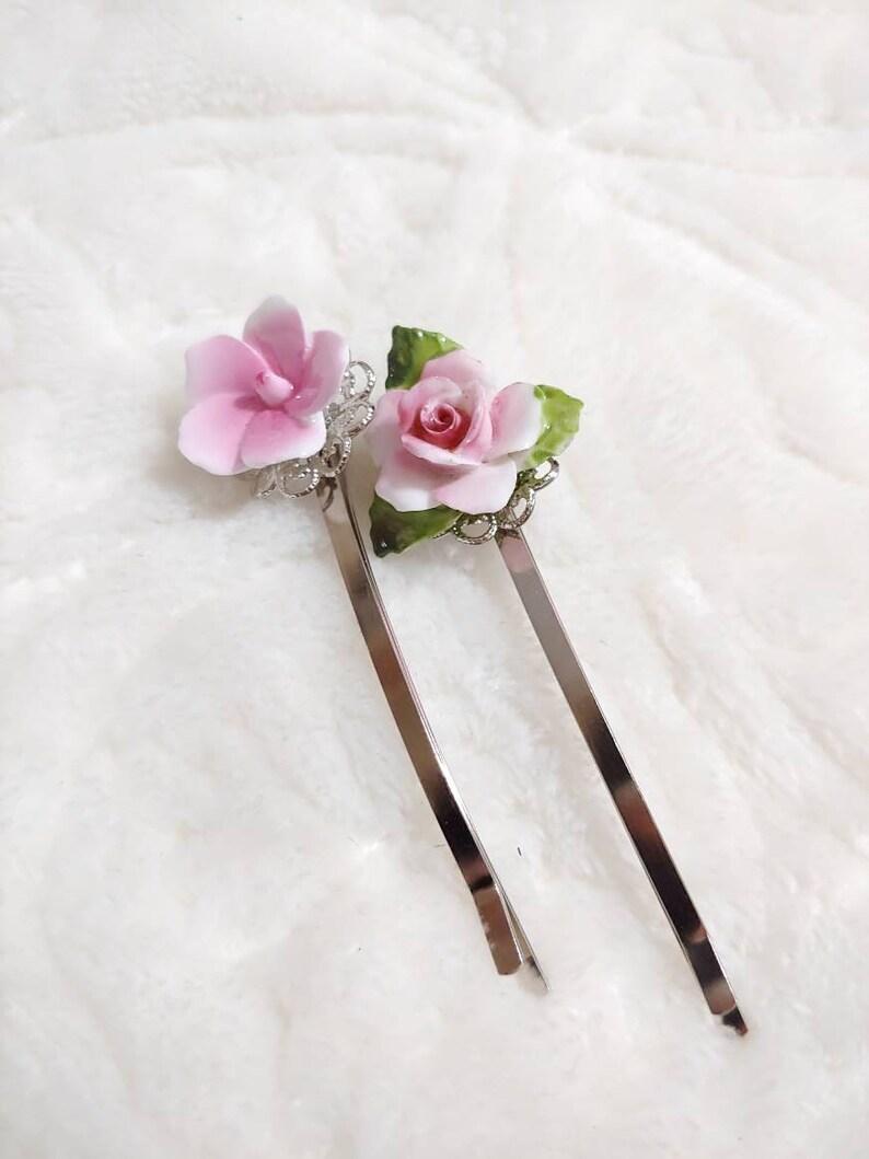 PAIR of vintage pink floral ceramic bobby pins-silver tone metal-repurposed vintage-wedding hair pins-set of 2-spring summer wedding hair