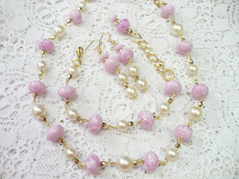WEDDING- Bridesmaid Adjustable Pierced dangle gold tone OOAK Vintage Lavender BeadedIvory Matte PEARL NecklaceEarringsBracelet Set