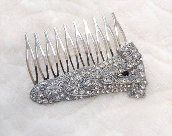 OOAK Vintage Authentic Art Deco Rhinestone Hair Comb - silver tone metal - Bridal -gift- WEDDING - Formal 1920s Art Deco - Bridesmaid gift