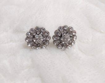 Lovely Vintage Rhinestone Art Deco Earrings - silver tone metal -stud motif-screw back ear wire - gatsby wedding - FLAPPER bridesmaid gift