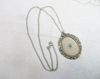 FABULOUS Vintage Authentic Art Deco Camphor Glass Pendant Rhinestone Center Necklace - silver tone metal - bridal wedding piece - ornate
