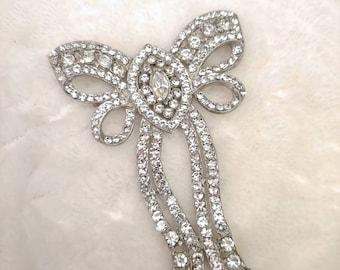 HUGE Gorgeous Vintage 1920s Art Deco Bow Motif Brooch-Gatsby wedding-flapper bow-silver tone pot metal-gatsby formal-repurpose LARGE brooch