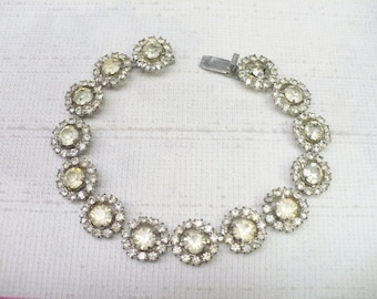Lovely Vintage Art Deco Rhinestone Bracelet - silver tone metal - GATSBY wedding  - bridesmaid gift - mother of the bride - **Note SIZE**