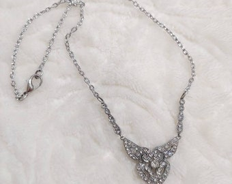 Vintage art deco rhinestone bib style necklace-silver tone metal and chain-bridal necklace- chain-gatsby wedding-bridesmaid gift-flapper
