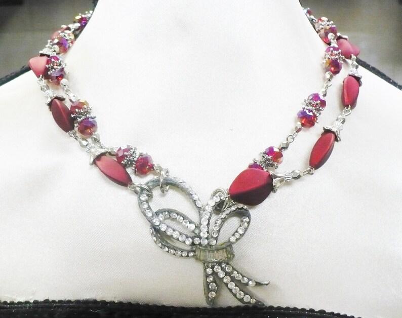 OOAK Vintage Authentic 1920s Rhinestone Art Deco PendantRed BeadedCrystal 2 Strand Necklace-silver tone-adjustable-GATSBY Bride-Bridesmaid