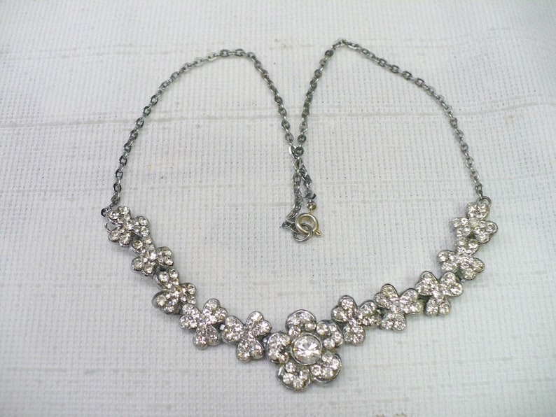 choker art deco formal gift silver tone Bridesmaid gift AMAZING Vintage Art Deco Clear Clover Rhinestone Necklace Bridal necklace