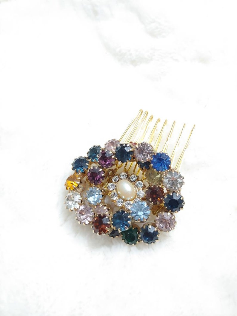 OOAK Vintage Multi Colored RHINESTONEPearl Gold Starburst Hair Comb-gold tone metal-Rustic wedding-Fall bridesmaid-ivory faux pearl-gift