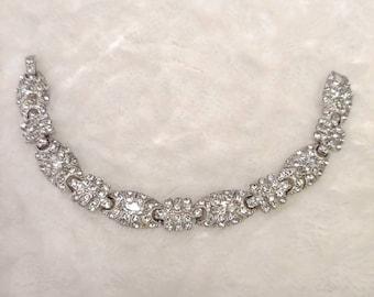 Stunning Vintage 1920s Art Deco Rhinestone Bracelet-silver tone metal-gatsby wedding-flapper bridesmaid-rhodium plated pot metal-wedding